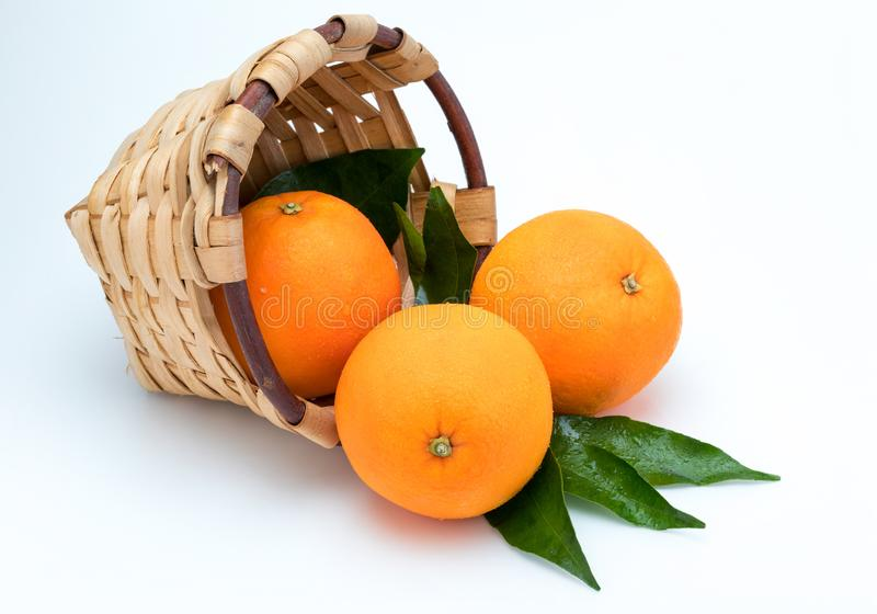 Fresh and raw oranges with green leaves in rustic wicker basket. stock images