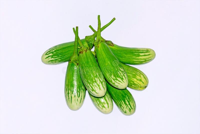 Fresh long green brinjal,thai green eggplant or aubergine on white background. Fresh,raw and organic long green brinjal,thai green eggplant or aubergine stock photos