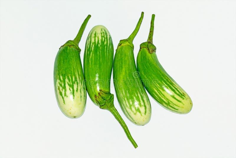 Fresh long green brinjal,thai green eggplant or aubergine on white background. Fresh,raw and organic long green brinjal,thai green eggplant or aubergine royalty free stock photos