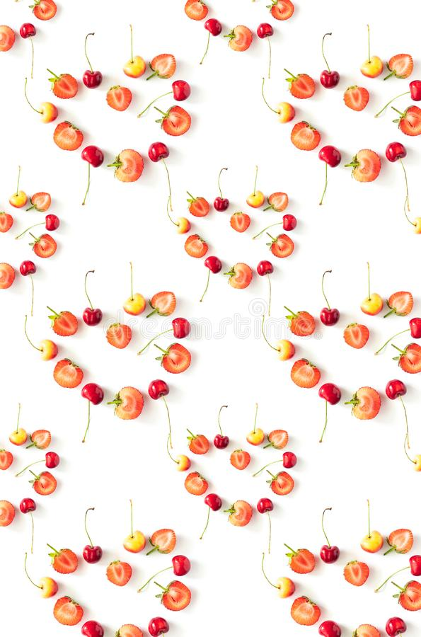 Fresh Raw Organic Seasonal Fruits Berries, pattern royalty free stock images
