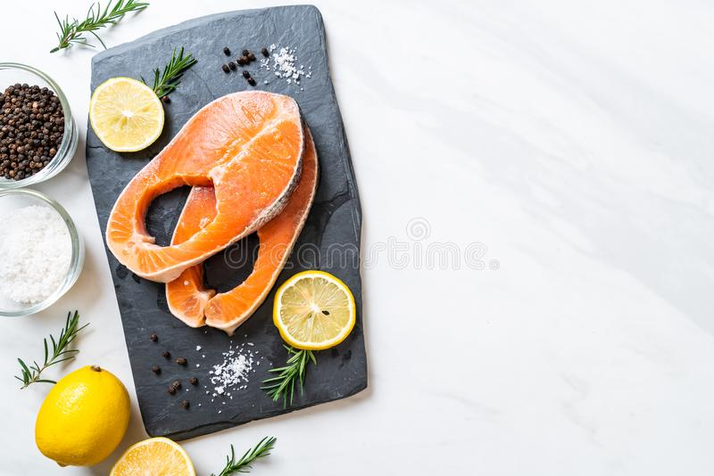 fresh raw salmon fillet steak stock photography