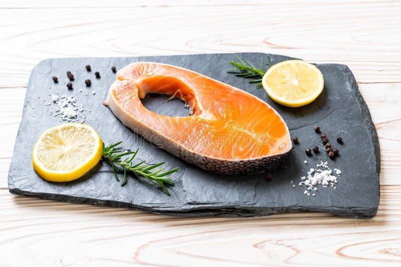 fresh raw salmon fillet steak royalty free stock image