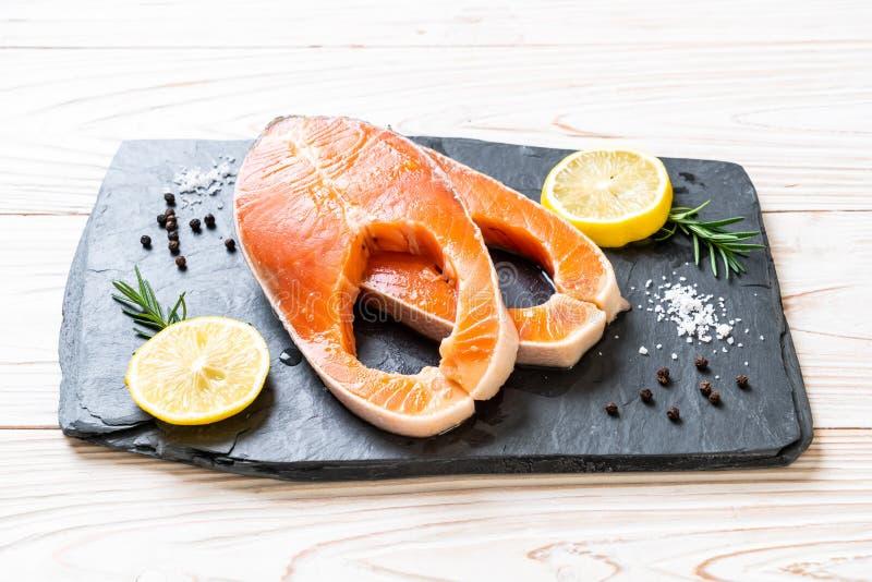 fresh raw salmon fillet steak stock photos