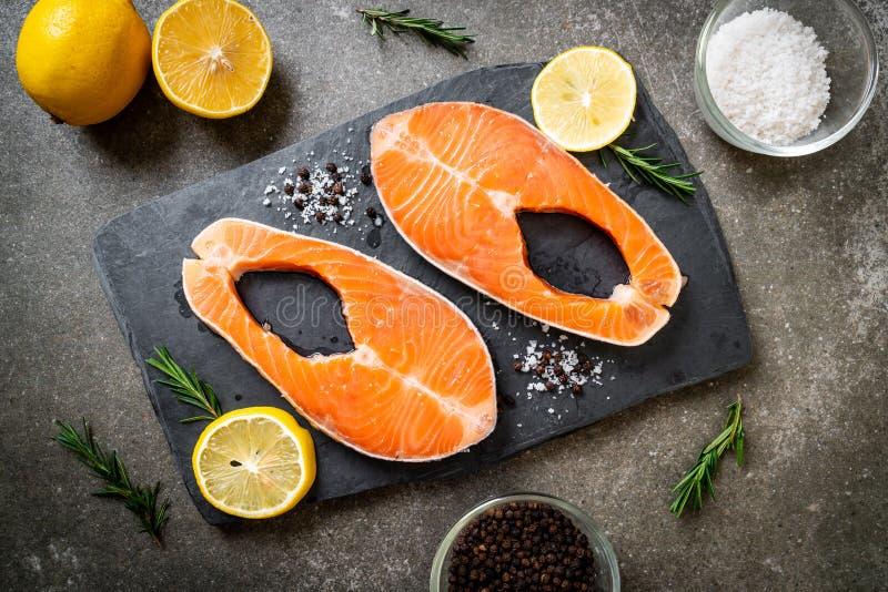 fresh raw salmon fillet steak royalty free stock photos