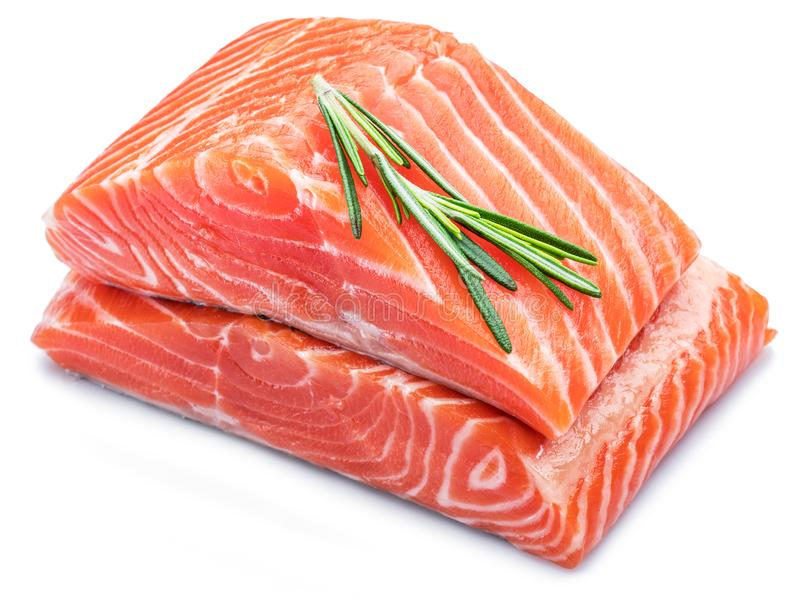 Fresh raw salmon fillets decorated with green rosemary. Top vie royalty free stock image
