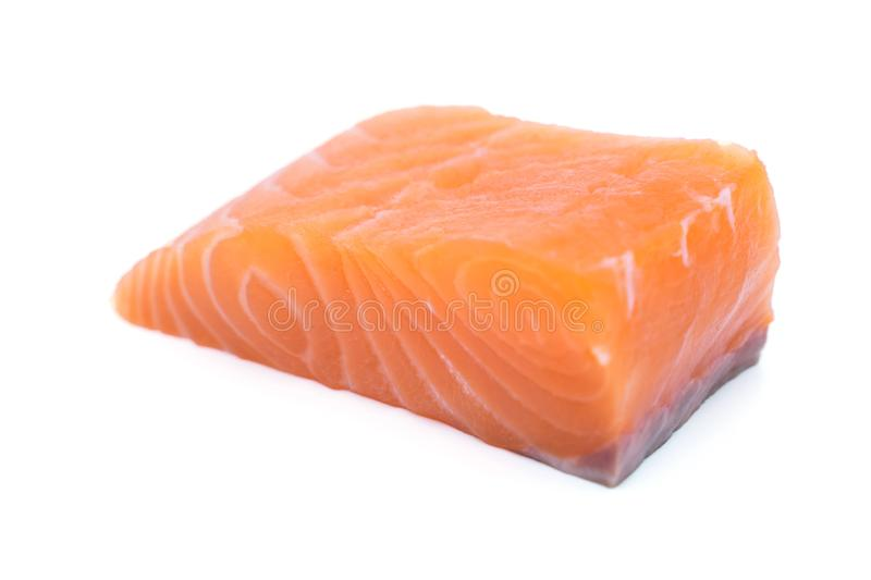 Fresh raw salmon fillets isolated on white. Background royalty free stock photography