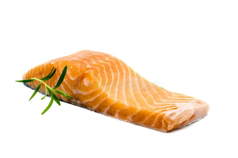 Fresh raw salmon fish isolated on white background royalty free stock photos