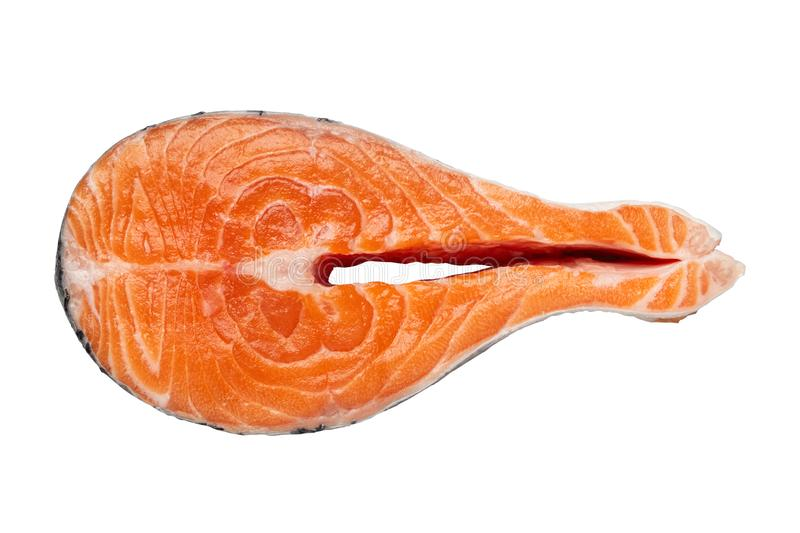 Fresh raw salmon fish steak, isolated on white background. stock photography