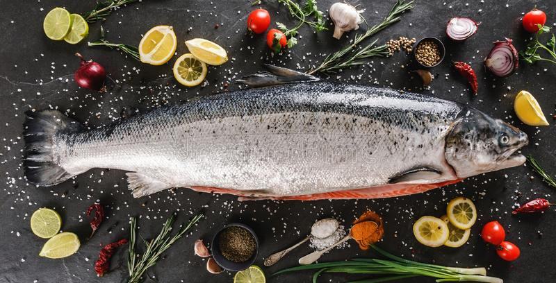 Fresh raw salmon red fish with spices, lemon, pepper, rosemary on dark stone background. Creative layout made of fish, top view, stock photo