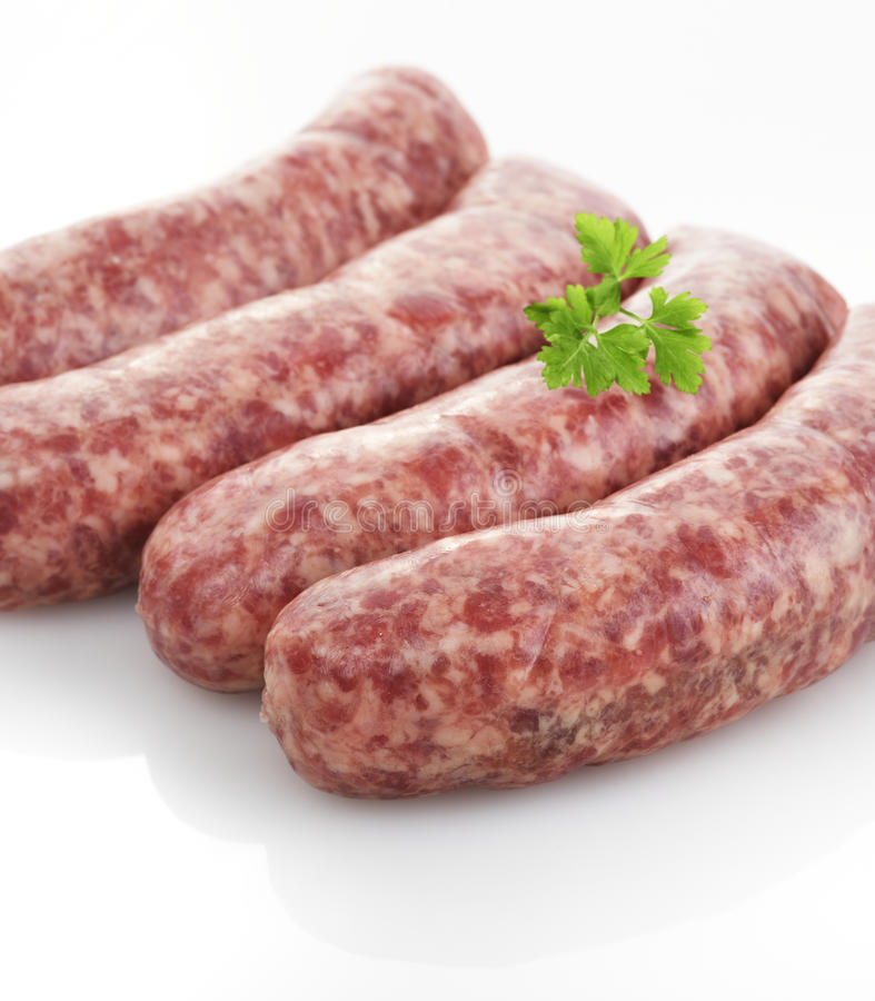 Fresh Raw Sausages stock images