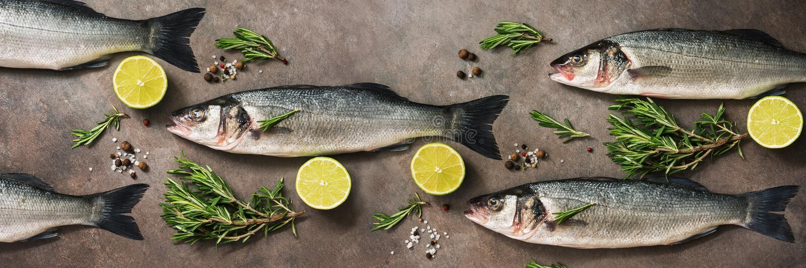 Fresh raw sea bass fish with rosemary and lime on a dark brown rustic background,banner. Flat lay, overhead view. Fresh raw sea bass fish with rosemary and lime stock photo
