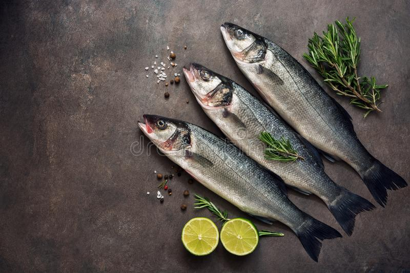Fresh raw sea bass fish with rosemary and lime on a dark brown rustic background. Flat lay, top view, copy space royalty free stock photo