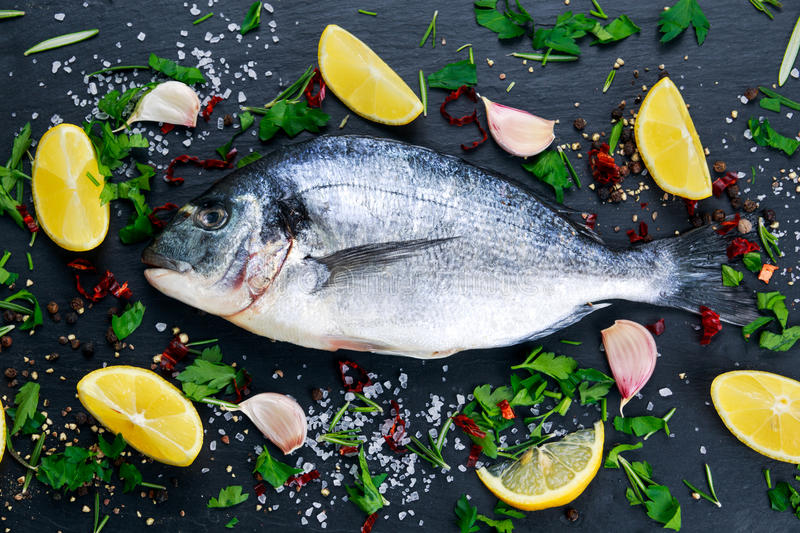 Fresh Raw Sea Bream Fish on blue stone background. Fresh Raw Sea Bream Fish on blue stone background with vegetables and herbs stock photo