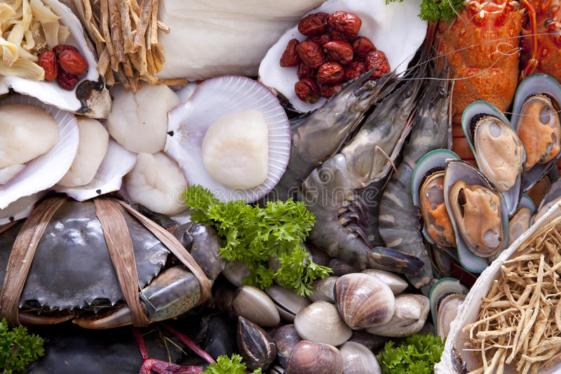 Fresh raw sea food. royalty free stock image