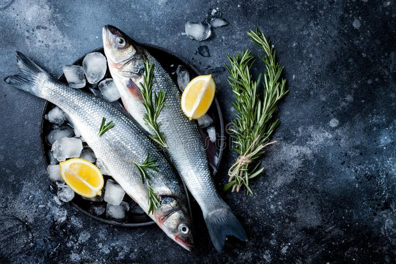 Fresh raw seabass fish on black stone background with spices, herbs, lemon and salt. Culinary seafood background with ingredients. Fresh raw seabass fish on stock images
