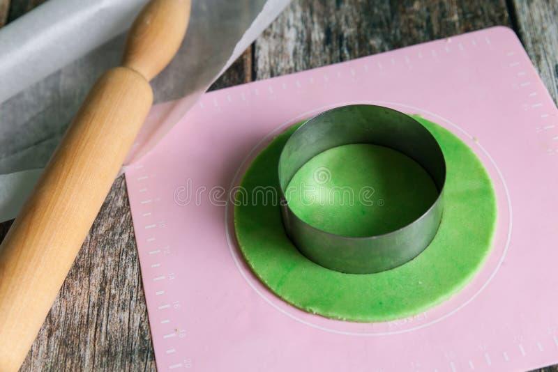 Fresh raw shortbread dough prepare stock image
