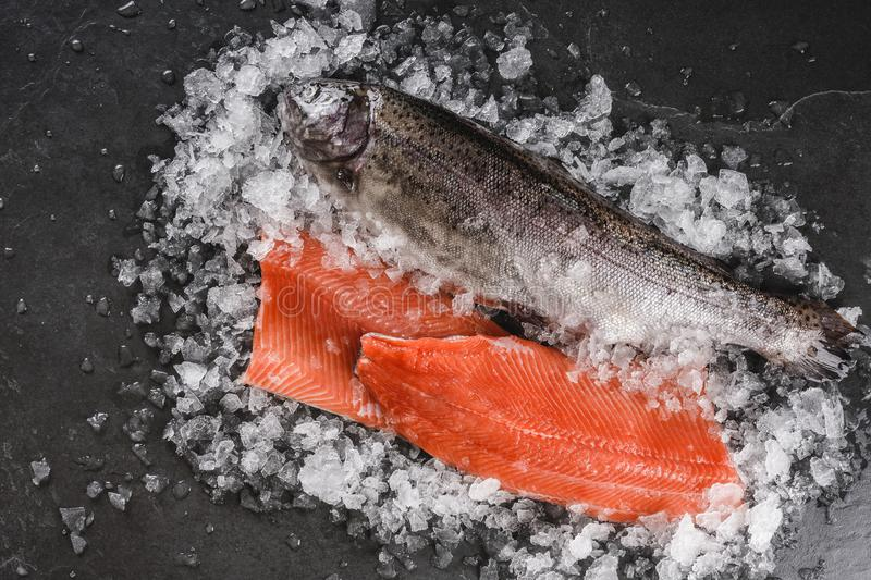 Fresh raw trout fish steak and whole fish with spices on ice over dark stone background. Creative layout made of fish, top view royalty free stock images