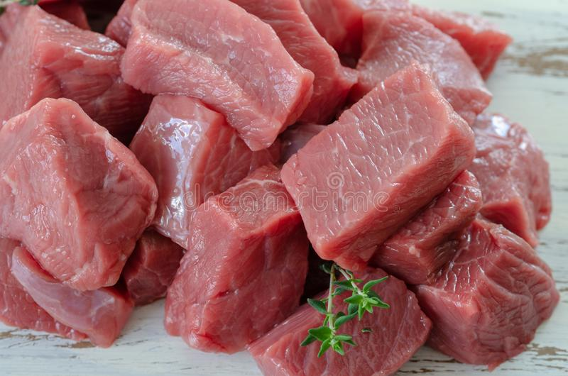Fresh raw veal pieces stock photo