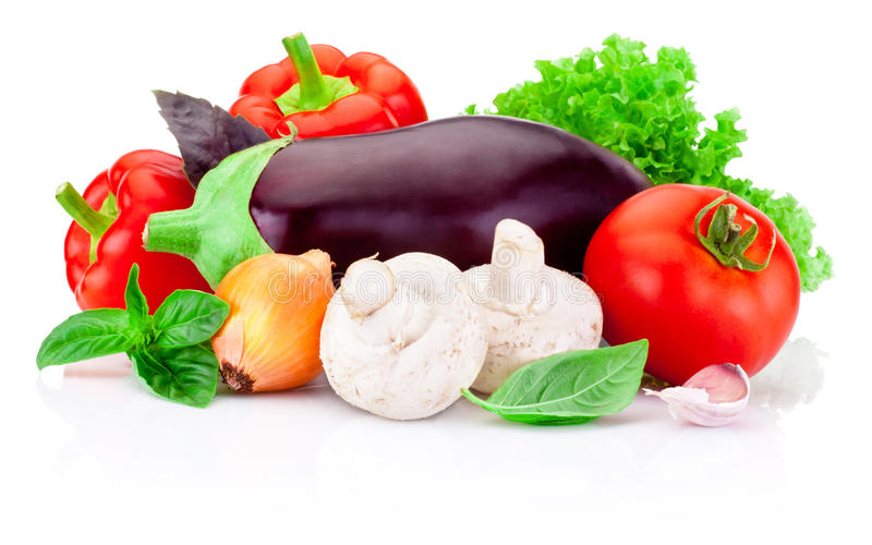 Fresh raw vegetables isolated on white background royalty free stock photography