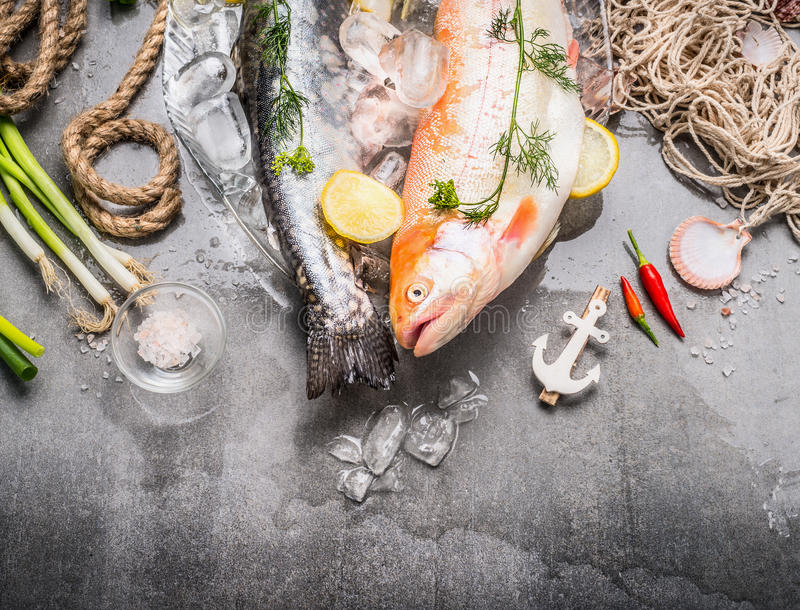 Fresh raw whole fish with ingredients for tasty and healthy cooking on concrete stone background with ice cubes, top view stock image