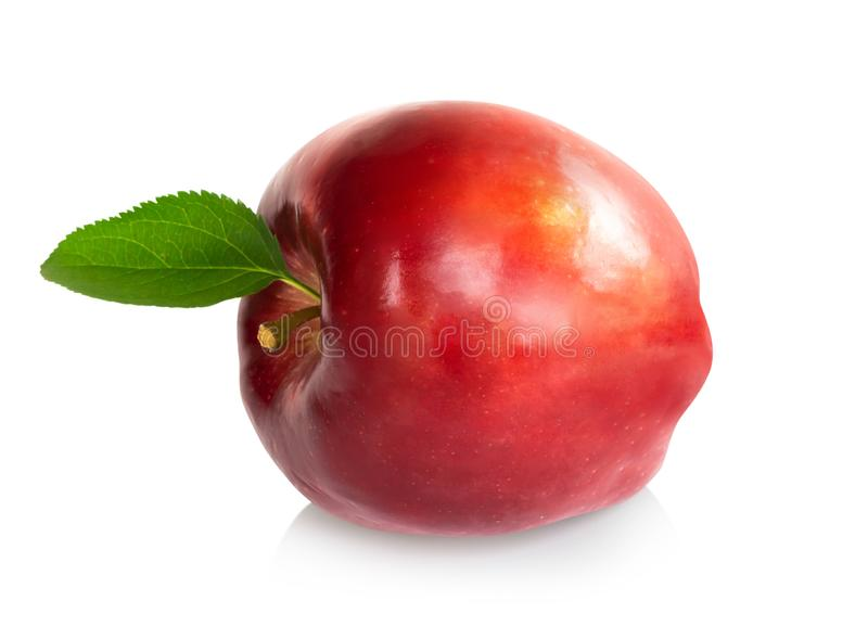 Fresh red apple fruit with green leaf isolated on white background, Healthy food concept stock image