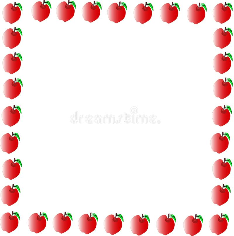 red apple with green leaf border stock illustration illustration rh dreamstime com apple border clip art free