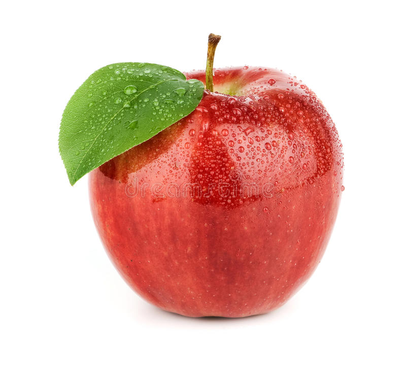 Fresh red apple with green leaf stock photos