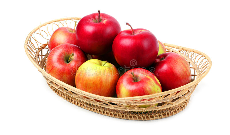 Fresh red apples in basket.