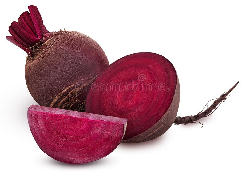 Fresh red beet root one cut in half and slice. Isolated on white background. Clipping Path stock photo