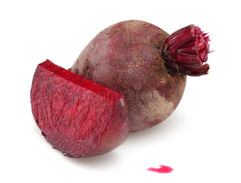 Fresh red beet roots isolated on white. Background stock photography