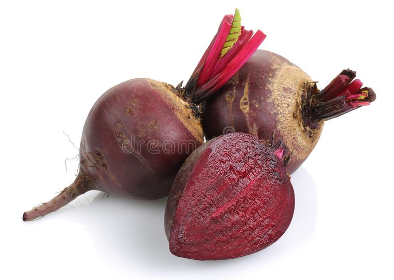 Fresh red beet roots isolated on white. Background royalty free stock images