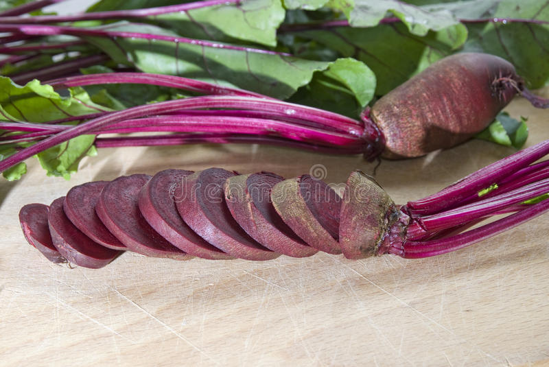 Fresh red beetroot with leaves royalty free stock image
