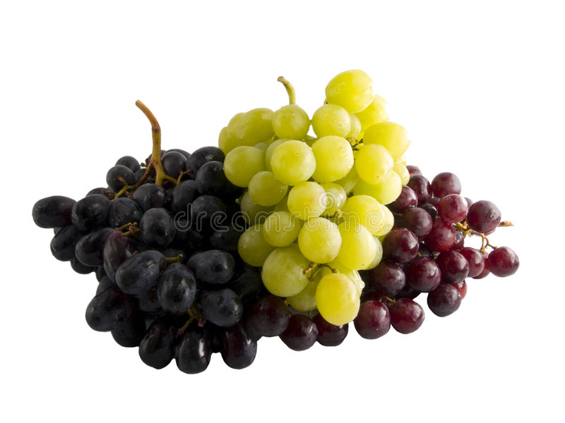 Fresh red, black and white grapes stock photo