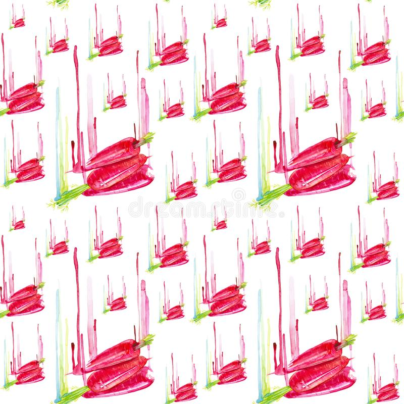 Fresh red carrots with drips of watercolor paint. Abstract watercolor illustration isolated on white background.Seamless pattern.  royalty free illustration