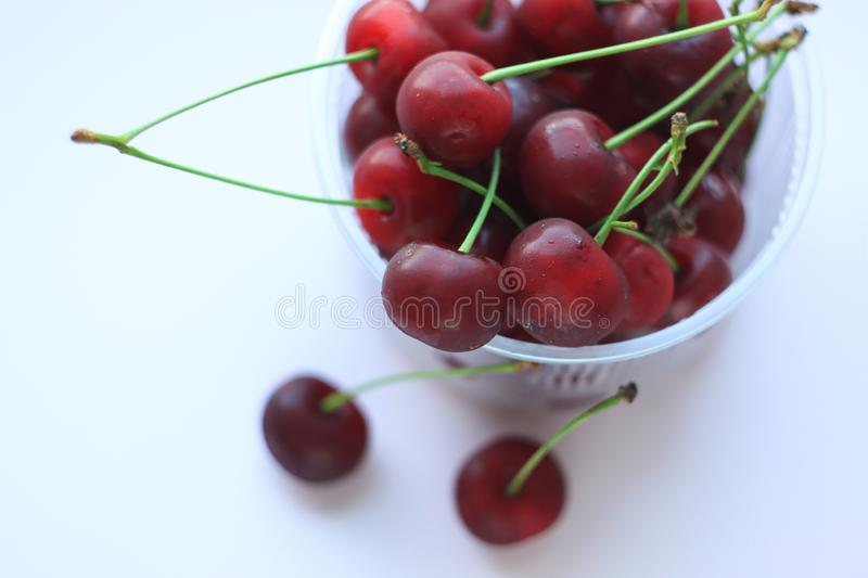 Fresh red cherries in a bowl on light pink powder background. Copy space, minimalistic style royalty free stock photos