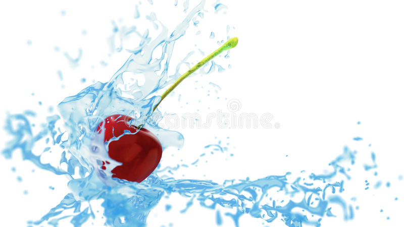 Fresh red cherry touches the water flow, creating splashes. 3d render vector illustration