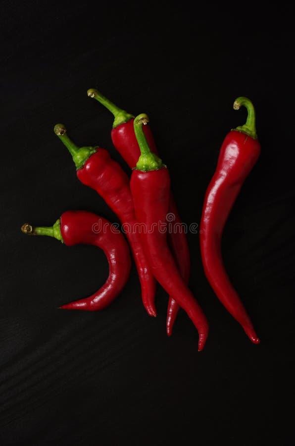 Fresh red chili peppers on black wooden vintage background, menu design concept stock image