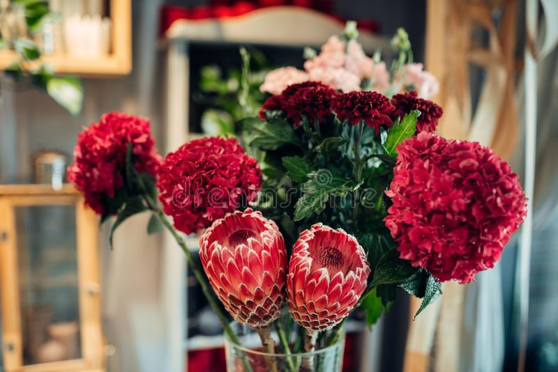Fresh red flower bouquet closeup, nobody. Floral composition in boutique, floristic business royalty free stock image