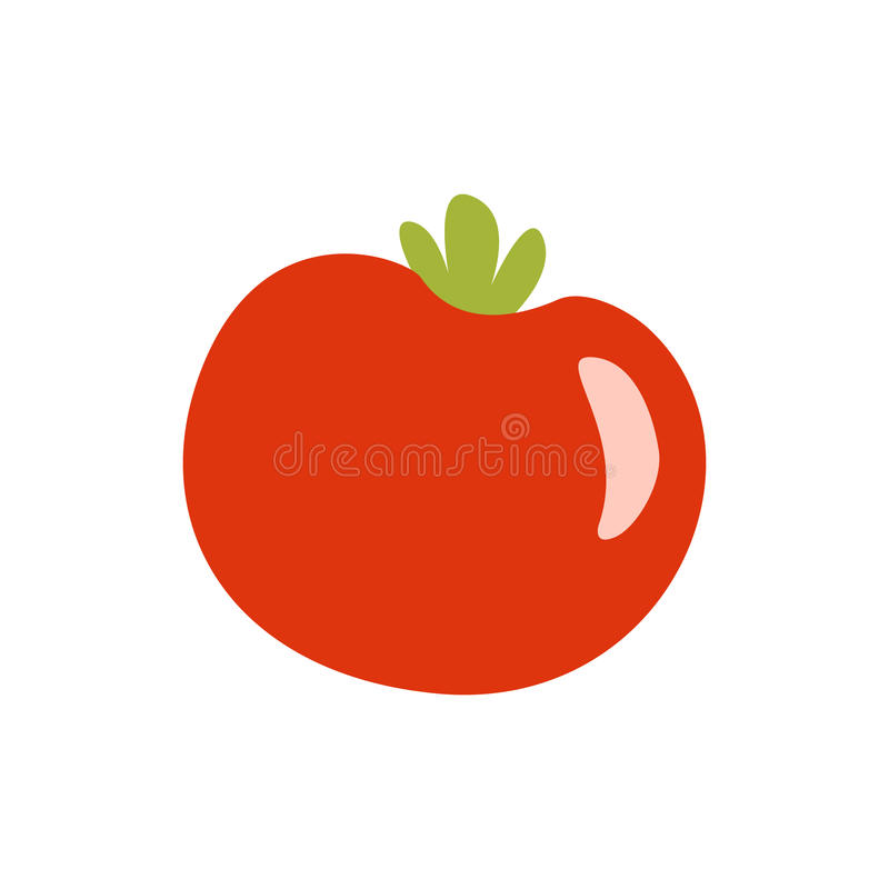 Fresh Red Glossy Tomato Vegetable Primitive Cartoon Icon, Part Of Pizza Cafe Series Of Clipart Illustrations vector illustration