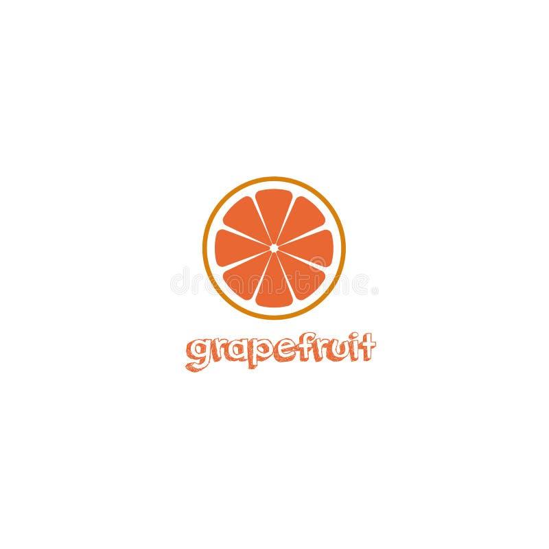 Fresh red grapefruit with inscription title vector illustration stock illustration