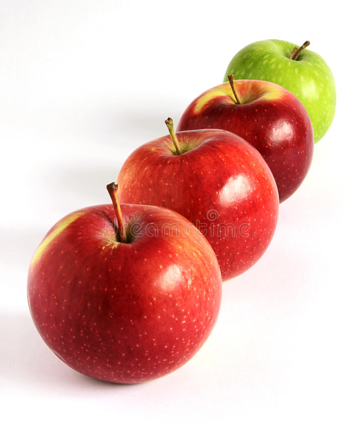 Download Fresh Red And Green Apples Diagonally On White Stock Photo - Image: 24866240