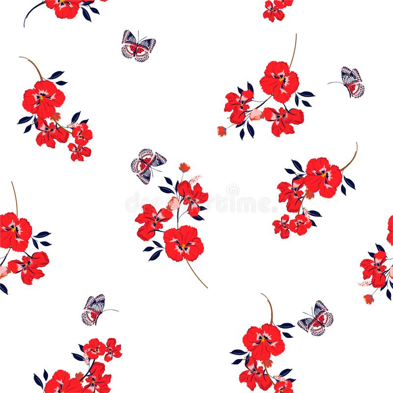 Fresh red pansy flowers  with butterflies soft and gentle seamless pattern on vector design for fashion,fabric,wallpaper and all. Prints on white background vector illustration