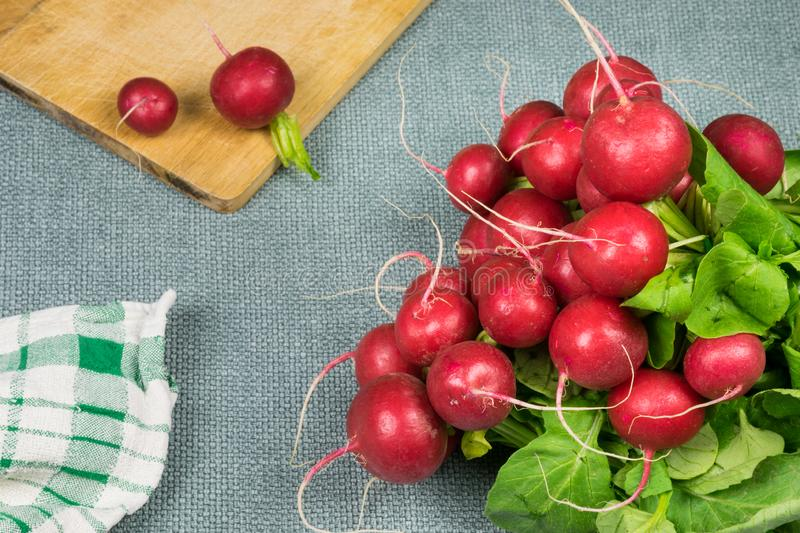 Fresh red radishes on grey background, wooden board and dish towel. stock photography