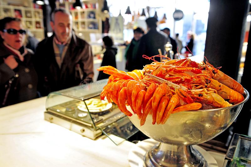 Fresh red shrimps Sea food on display in Madrid Food Market stock image