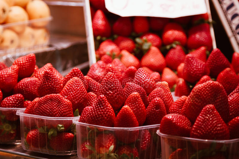 Download Fresh Red Strawberries In Baskets Ready For Sale At Marketplace Stock Image - Image of grocery, spain: 83723471