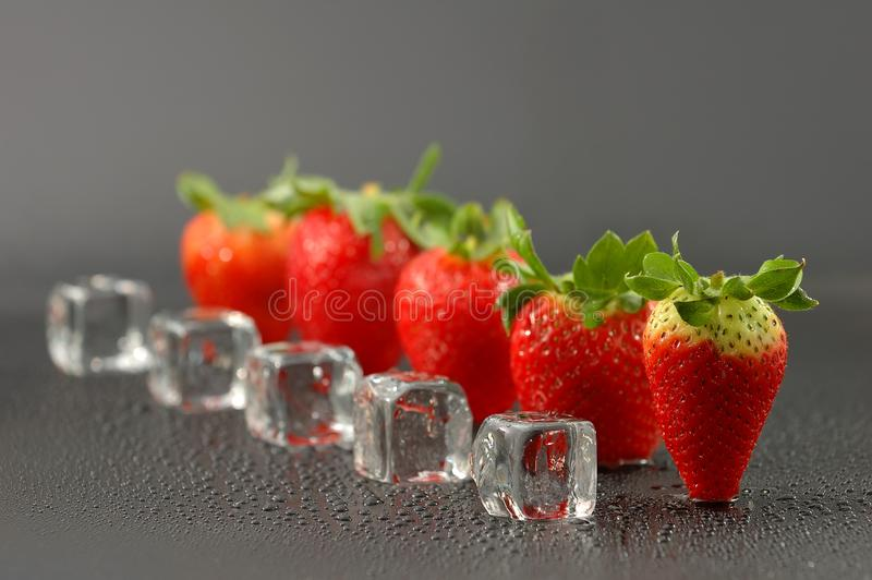 Fresh red strawberries with ice cubes royalty free stock photos