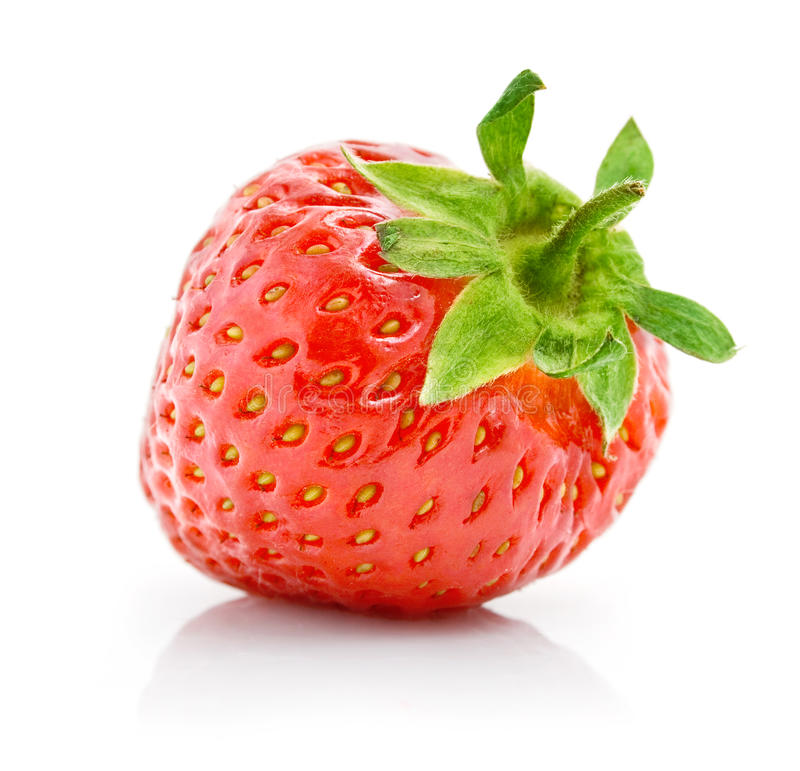Fresh red strawberry with green leaf isolated royalty free stock photography