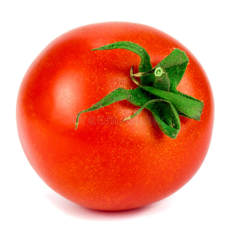 Fresh red tomato with green stem on white background.  stock image
