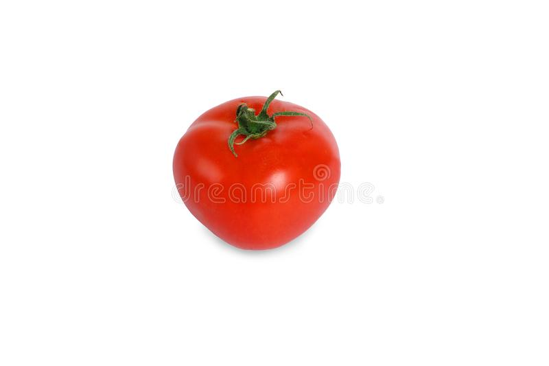 Fresh red tomato isolated on white background. Side view. Close up royalty free stock photography