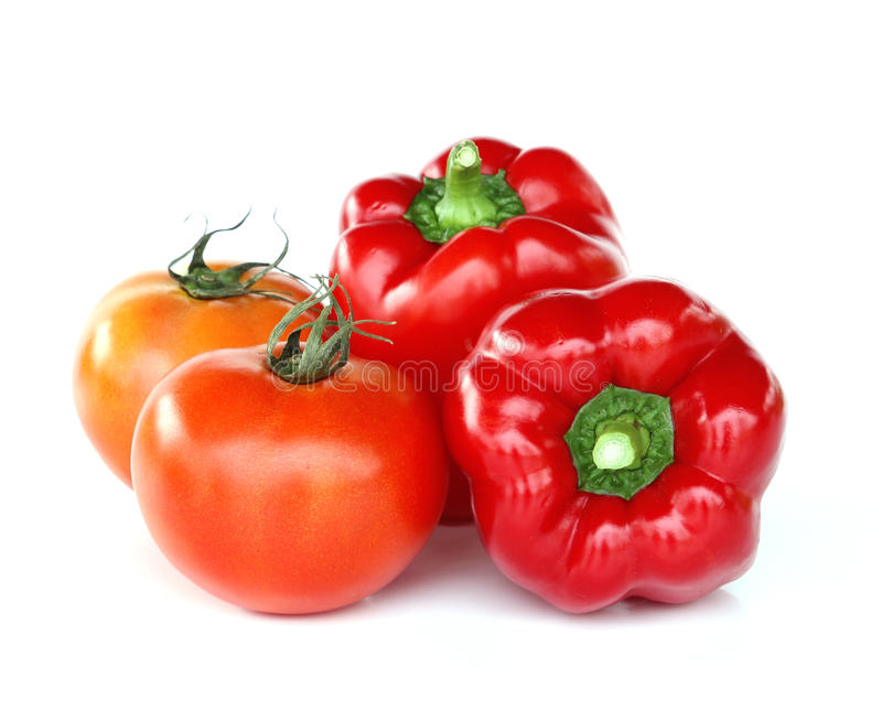 Fresh red tomato and paprika royalty free stock photos